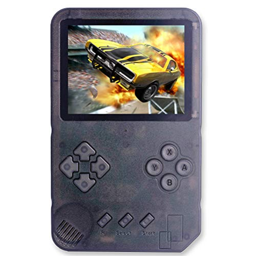Great Boy Handheld Game Console for Kids Adults wit Built in 1015 Retro Video Games and Support TF Card Download Save Progress Rechargeable 3.5 Inch HD Screen Birthday Xmas Gift (Transparent Black)