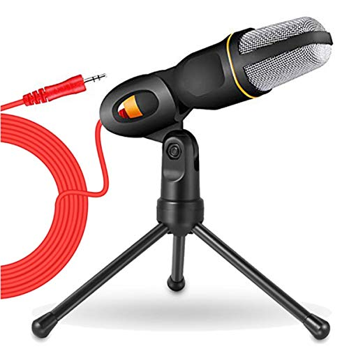 HKBTCH PC Microphone with Tripod Stand, 3.5mm Jack Recording Condenser Microphone Compatible with PC, Laptop, iPhone, iPad, Mac-Recorder Singing YouTube Skype Gaming