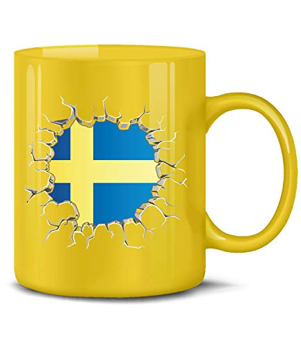 Schweden Sverige Sweden Fan Artikel 5802 Fuss Ball Europa World Cup EM 2020 WM 2022 Kaffee Tasse Becher Geschenk Ideen Fahne Flagge Gelb