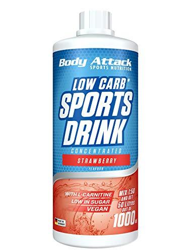 Body Attack Low Carb Sports Drink, Sportgetränkekonzentrat, Strawberry / Erdbeere, (1 x 1000ml)