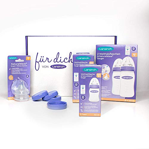 Lansinoh NaturalWave Flaschenset - großes Babyflaschen Starterset - Ideal als Geschenk für Babyshower & Geburt - Flaschen: 2 x 160 ml & 2 x 240 ml/Sauger: 2 x Gr. S, M, L / 4 x Deckel