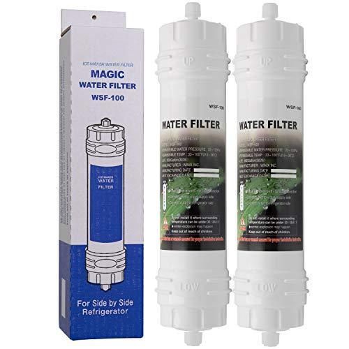 MAGIC WATER FILTER WSF-100 | 2er Pack - Wasserfilter mit Schraubverschluß für Samsung Kühlschränke - externer Side-by-Side Kühlschrank Filter WSF100
