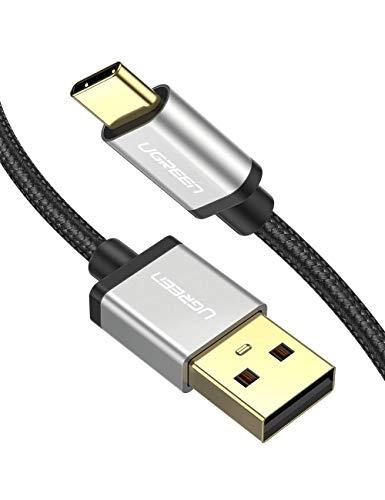 UGREEN USB C Kabel Ladekabel USB Typ C Schnellladekabel kompatibel mit Samsung S10 S9 S8 A7 2017 M20, Huawei P30 lite P9, Sony Xperia XZ, HTC U11, Nokia 7 Plus, Xiaomi Mi 8 Mi 9 usw. Aluminium 2M