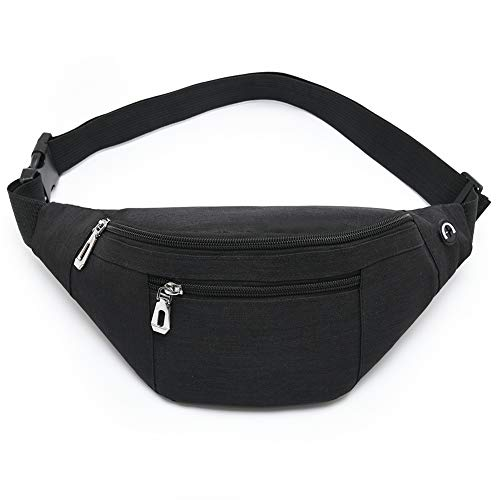 Fanny Pack for Men & Women, Fashion Waterproof Waist Packs with Adjustable Belt, Casual Bag Bum Bags for Travel Sports Running. (02-Black)