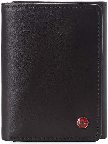 Alpine Swiss Leon Mens RFID Blocking Trifold Wallet Smooth Leather Comes in Gift Box Brown product image