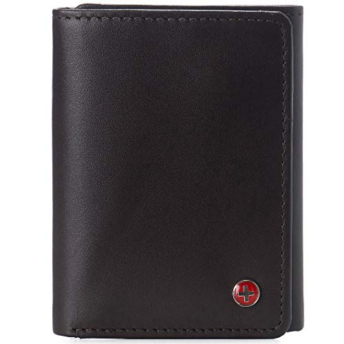 Alpine Swiss Leon Mens RFID Blocking Trifold Wallet Smooth Leather Comes in Gift Box Brown