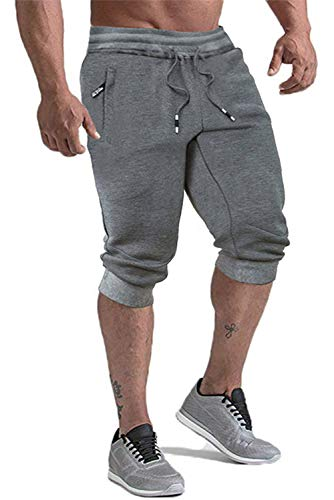 KEFITEVD Training Shorts Men with Pockets Workout Short Pants for Men Three-Quarter Athletic Running Pants Dark Gray