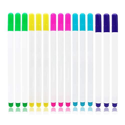 Gobesty Bolígrafos de tela borrables por calor, 15 piezas de rotuladores de tela de alta temperatura para costura, acolchado, corte y confección, 5 colores
