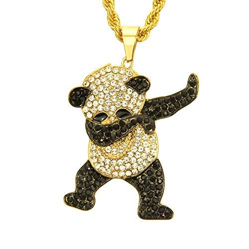 lureme Unisex Iced Out Full Diamond Panda Pendant Necklace Hip Hop Necklace (nl006240-2) Gold