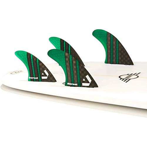 DORSAL Carbon Hexcore Quad Surfboard Fins (4) Honeycomb FCS Base Green