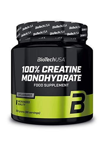 BioTechUSA 100{f8600efb82e185bd20768543019d50b18cf532f45b20b2b41f03bbc5fbbf0f30} Creatine Monohydrate Pharmazeutisch reines Creatin-Monohydrat-Pulver, Glutenfrei, ohne Geschmack, 300 g
