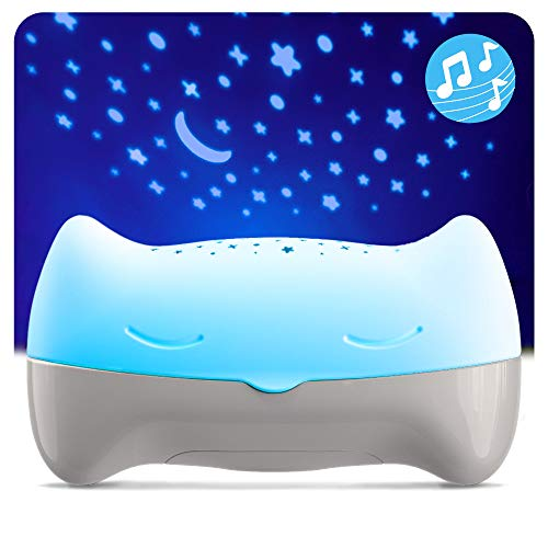 BENBAT Hooty Baby Soother and Projector - Sound and Sleep Projector with Glowing Night Light and Starlight Projection Image for Nursery or Car - for Use at Home or On-The-Go
