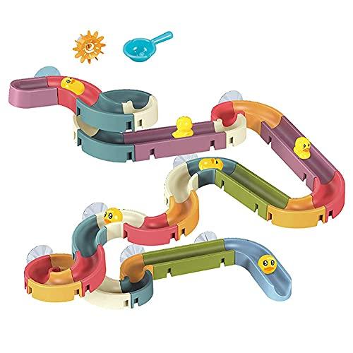Tastak Juguetes de baño para bebés, pista de bricolaje, juguete de baño para niños pequeños con ventosas, kit de juguetes para baño de pato, juegos de tobogán de tubería de agua para niños pequeños, p