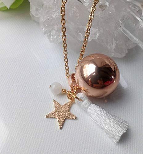 Bola de grossesse bi-color, Pierre de lune, Bille musicale plaquée OR ROSE, pompon, étoile dorée...