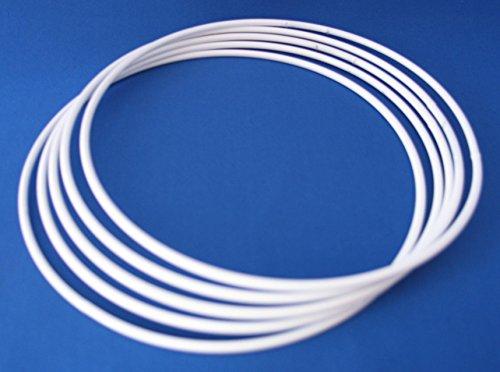 Dekondo - 10 anillos de alambre de metal (100 mm/10 cm), color blanco