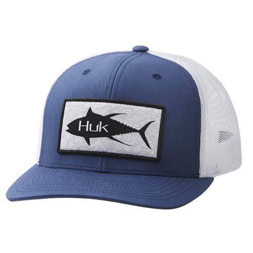 HUK Men's Trucker Anti-Glare Fishing Snapback Hat, Topo-Sargasso Sea, 1