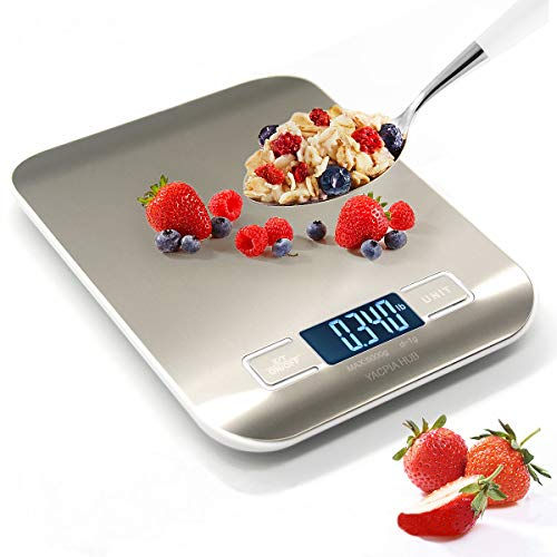 YACP HUB Food Digital Kitchen Scale Multifunction Scale Measures in Grams and oz for Cooking Baking,1g/0.1oz Precise Graduation,Coffee Scales Grams Mutritional Calculator Backlit LCD Display Function