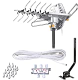 LAVA HD2605 [Newest 2020] Outdoor HD TV Antenna Remote Controlled Rotation Long Range 4K TV Installation Kit with Mounting Pole
