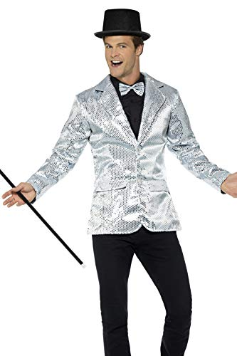 Smiffys Herren Pailletten Jacke, Größe: L, Silber, 21139