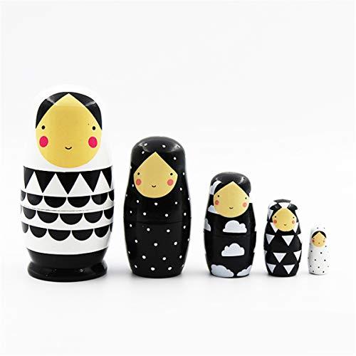 newwyt 5 Stück Set Russische Nistpuppen Hölzerne Matroschka-Puppe Handgemachte Bemalte Stapelpuppen Sammlerstück Bastelspielzeug
