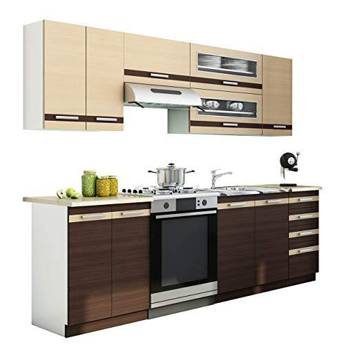 Mirjan24 Küche Lungo/Macchiato bis 240 cm mit Arbeitsplatte, Küchenblock/Küchenzeile, 7...