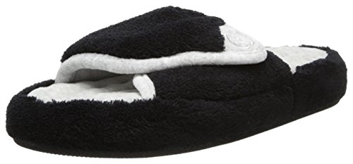 ISOTONER Women's Microterry Pillowstep Spa Slide, Black, 9.5/10