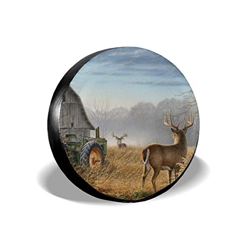 Belleeer Cubierta DE LA Rueda, Tire Cover Old Tractor Cute Deer Potable Polyester Spare Wheel Tire Cover Wheel Covers for Jeep Trailer RV SUV Truck Camper Travel Trailer Accessories(14,15,16,17 Inch)