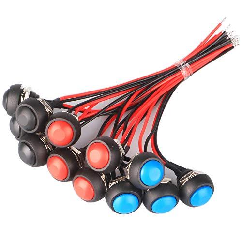 GTIWUNG 12 Piezas Interruptor de Botón Momentáneo con linea, 12mm a Prueba de Agua Lockless Botón Pulsador ON/OFF, Mini Interruptores, 3 Colores, Negro/Rojo/Azul