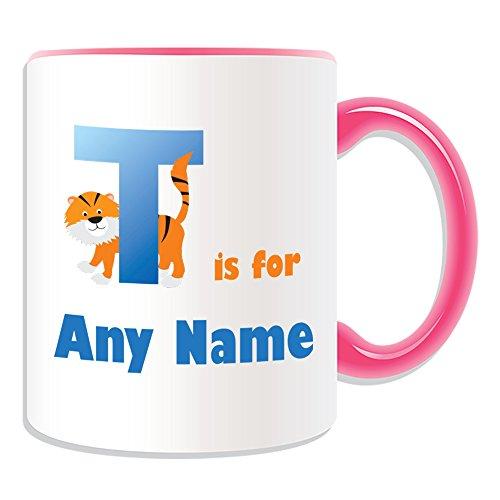Regalo personalizado–letra T para taza (alfabeto diseño tema, colores)–cualquier nombre/mensaje en su único–A B C D E F G H I J K L M N O P Q R S T U V W X Y Z inicial con símbolo fonético Tango tigre, cerámica, Rosa