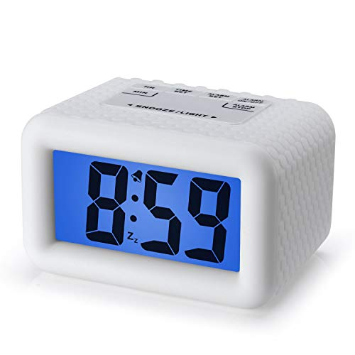 Plumeet Digital Clock - Kids Alarm Clocks with Snooze and Backlight - Simple Travel Clocks Large LCD Display - Ascending Sound and Handheld Sized - Good for Kids (White)