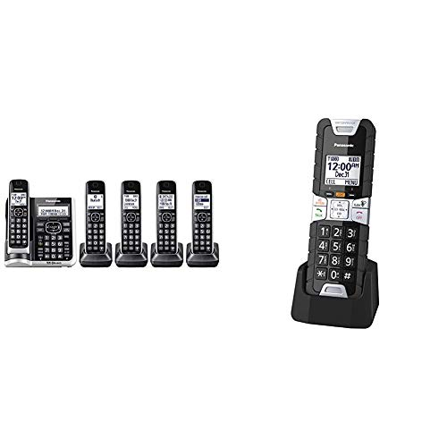 Panasonic Link2Cell Bluetooth Cordless Phone System (Silver) & Rugged Cordless Phone Handset Accessory Compatible with TGF54x/ TGF57x/ TGD53x/ TGD56x/ TGD51x/ TGF24x Series - KX-TGTA61B (Black)