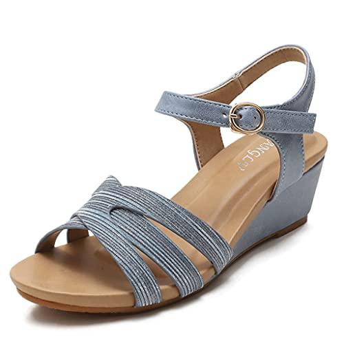 WAOUY Sandalia De Cuña para Mujer, Sandalias De Tacón con Honda, Sandalia De Plataforma para Mujer con Soporte De Arco Ortopédico Oculto (Color : Blue, Size : 40 EUR)