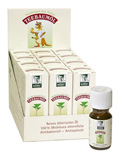 BADERs Teebaumöl Top-Angebot 12 x 10ml. Der Klassiker aus der Apotheke. Doppelt destilliert. Original australisches Melaleuca alternifolia MA-100.