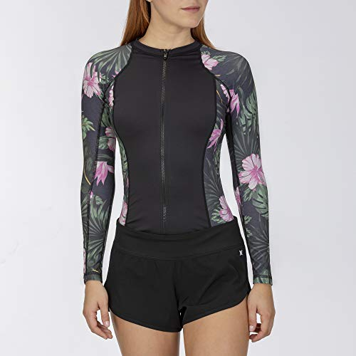 Hurley W OAO Lanai L/S Rashguard Zip Lycra, Mujer, Anthracite, S