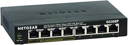 Netgear GS308P Switch Ethernet PoE 8 porte Gigabit, 4 porte PoE e budget energetico pari a 55W, switch unmanaged desktop, struttura in metallo senza ventole