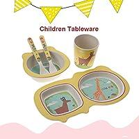 幼児用漫画道具、食器セット、幼児用子供用5本ベビー竹繊維(giraffe)
