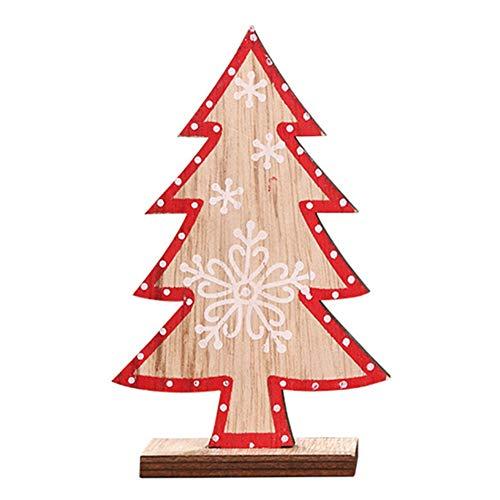 Momangel, Decorazioni Per Albero Di Natale, Con Fiocco Di Neve, In Legno, Con Ciondolo A Forma Di Albero Di Natale Wood