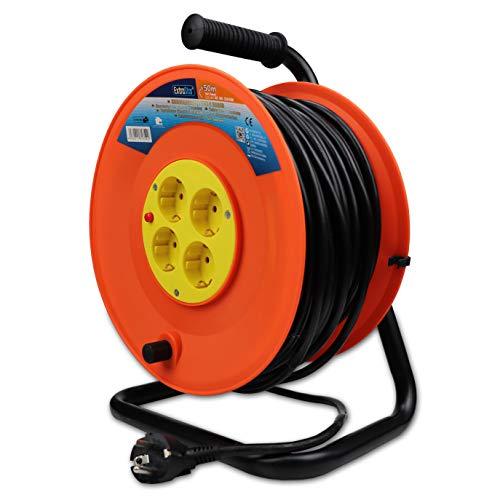 ExtraStar Cable de alimentación de bobina enrollable de 50 metros y 4 enchufes (2P+T) (50M)