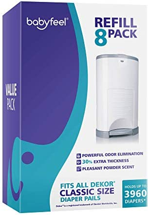 Diaper Pail Refills for Dekor Classic 8 Pack Value Pack Exclusive 30 Extra Thickness Powder product image