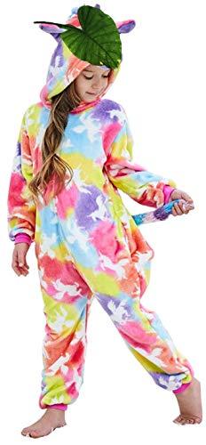 Girls And Boys Coloful Cloud Unicorn Onesie Pajamas Soft Fleece Halloween Costume Sleepwear (10-12 Years)