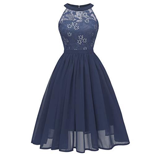 Janly Clearance Sale Vestido para mujer, estilo vintage, princesa, floral, encaje, cóctel, fiesta, fiesta, verano, color azul marino