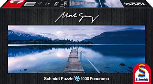 Schmidt Spiele 59291 - Mark Gray, Panoramapuzzle, Lake Wakatipu, New Zealand, 1000 Teile