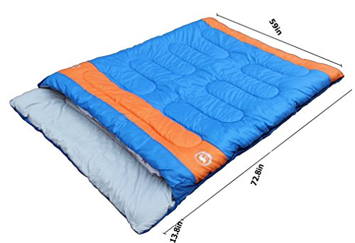 Famous Juggle 14~40~60 Double Sleeping Bag&unzipped into 2 Individual Sleeping Bags(Orange)