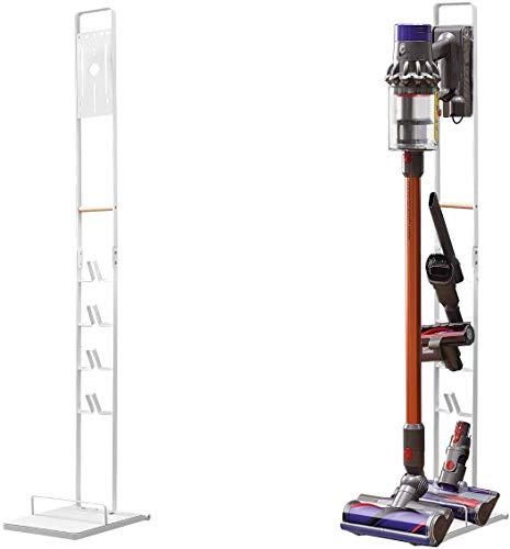 Luchs Ständer Universal für Akkusauger/Handstaubsauger - Organizer für Dyson V6,V7,V8,V10,V11,DC30,DC31,DC34,DC35 Standfuß Halterung Rahmen auf RÄDERN und HOLZGRIFF (Weiss)