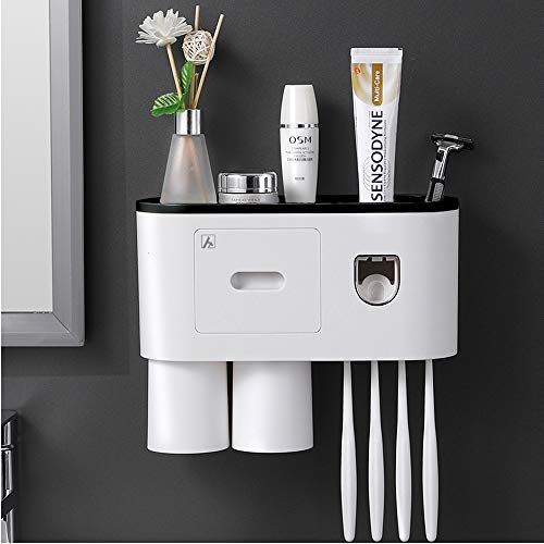 Aeakey Toothbrush Holder with Toothbrush Dispenser-Multifunctional Wall Mounted Space-Saving Toothpaste Squeezer Kit, 4 Toothbrush Slots,2 Cups and Drawers Cosmetic Organizer for Bathroom and Washroom