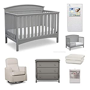 Delta Children Archer 7-Piece Baby Nursery Furniture Set – Includes: Convertible Crib, Dresser, Glider, Crib Mattress, Fitted Crib Sheets, Mattress Pad Cover and Toddler Guardrail, Grey/Cream