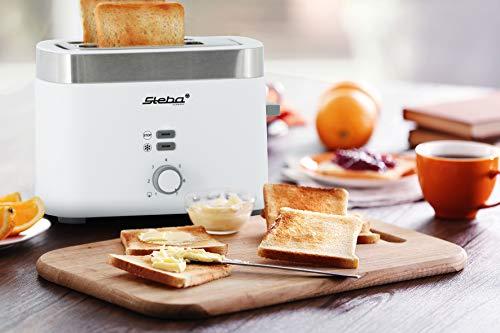 Steba-Toaster-TO-10-Bianco-Doppel-Schlitztoaster-fuer-2-Scheiben-Toast-7-Braeunungsstufen-einstellbar-3-Funktionen-Toasten-Auftrauen-Stoppen-Automatische-Brotscheibenzentrierung