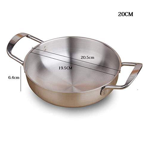 Marmite 18/20 / 22Cm en acier inoxydable Paella Marmite Hot Pot Écrevisses fruits de mer soupe Pot Cooker, 20 cm Huangwei7210 (Color : 20cm)