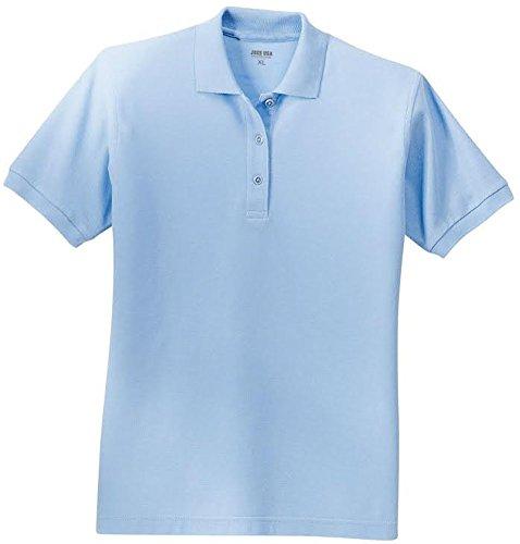 Joe's USA tm Ladies Short Sleeve Polo Shirt-Light Blue-L