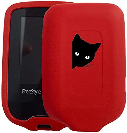 New! Premium Silicone Case with Cartoon Animal Patterns for Continuous Glucose Monitor-Freestyle Libre/Freestyle Libre 2 (cat/red)